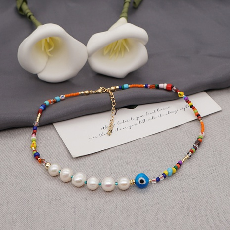 Retro bohemian freshwater pearl color bead necklace  NHYUZ364515's discount tags