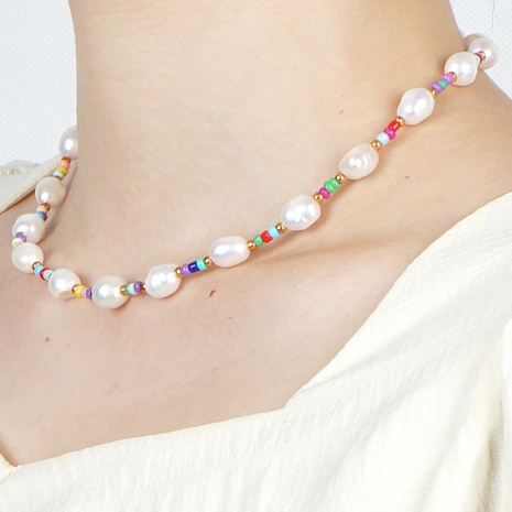 fashion bohemian freshwater pearl rainbow bead necklace  NHYUZ364517's discount tags