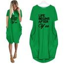 Fashion Letter Print Round Neck Short Sleeve Casual Dress NHKO364645