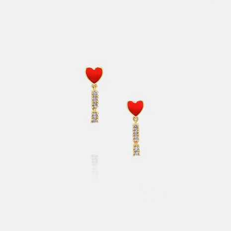 fashion red heart-shaped pendant earrings wholesale  NHWV358593's discount tags