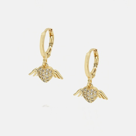 fashion gold-plated white zircon wings heart-shaped earrings NHWV358599's discount tags