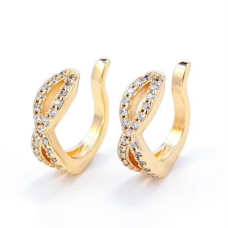 fashion new gold-plated zircon twist ear clip NHWV358600's discount tags