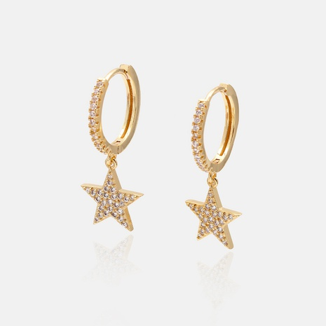 fashion zircon gold-plated five-pointed star earrings  NHWV358604's discount tags