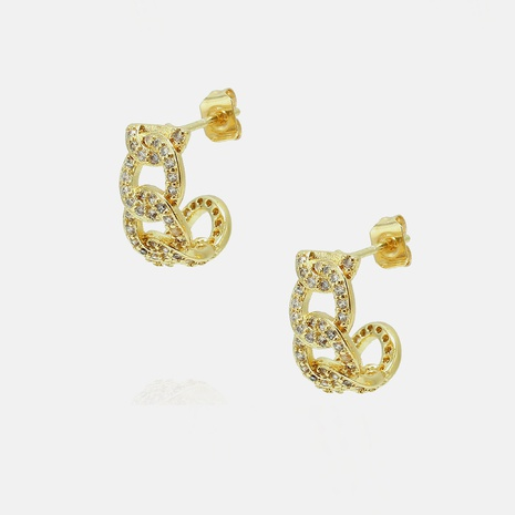 fashion gold-plated zircon earrings wholesale  NHWV358613's discount tags