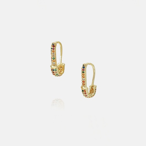 fashion color zircon pin earrings wholesale  NHWV358614's discount tags