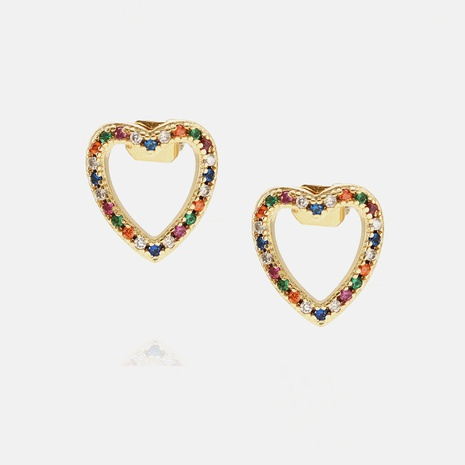 Fashion Color Zircon Hollow Heart Stud Earrings Wholesale  NHWV358618's discount tags