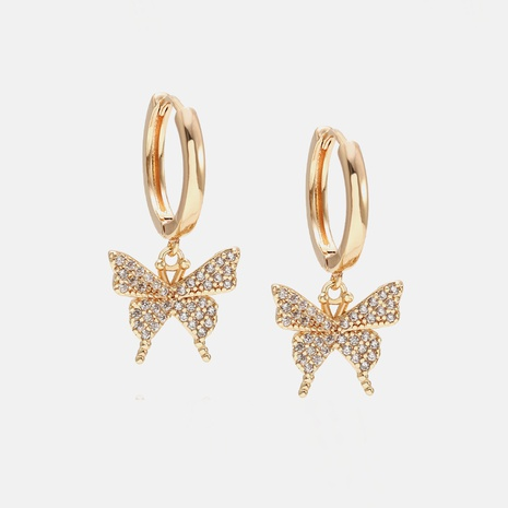 Korean style gold-plated zircon butterfly earrings wholesale  NHWV358620's discount tags