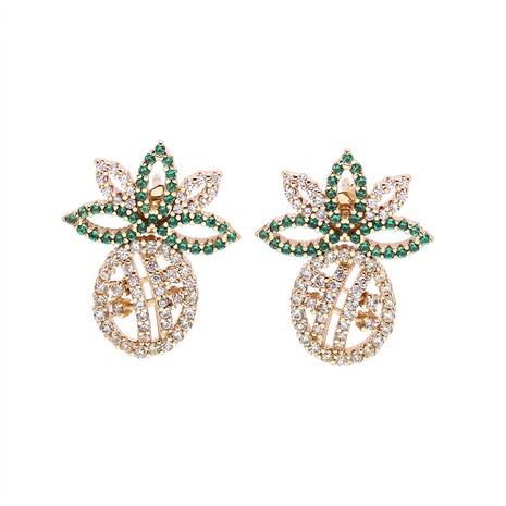 fashion zircon pineapple earrings wholesale   NHWV358621's discount tags