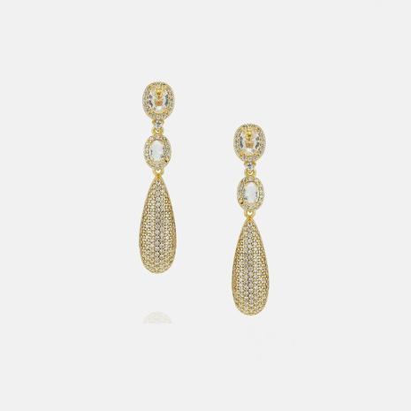 fashion zircon long water drop earrings  NHWV358623's discount tags