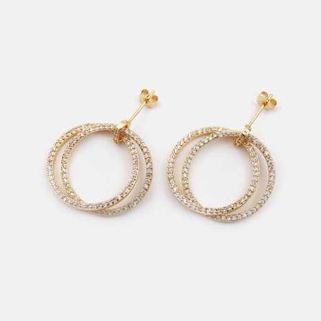 simple gold-plated zircon circle copper earrings  NHWV358624's discount tags