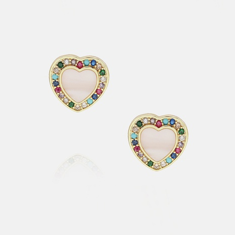 Fashion simple gold-plated color zircon heart-shaped earrings NHWV358627's discount tags