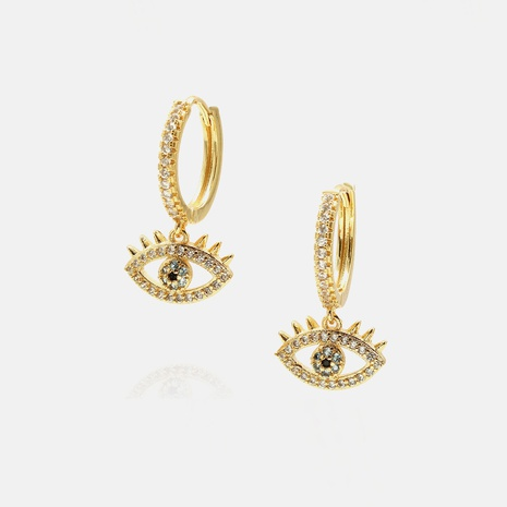 fashion gold-plated devil's eye zircon earrings wholesale  NHWV358629's discount tags