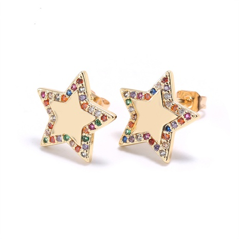 fashion color zircon star earrings wholesale NHWV358635's discount tags