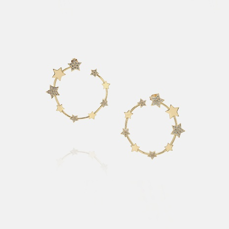 fashion gold-plated zircon star earrings wholesale  NHWV358638's discount tags
