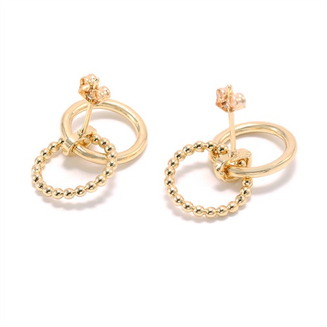 simple gold-plated bead circle earrings wholesale  NHWV358639's discount tags