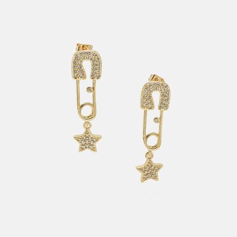 fashion zircon star pin earrings wholesale NHWV358642's discount tags