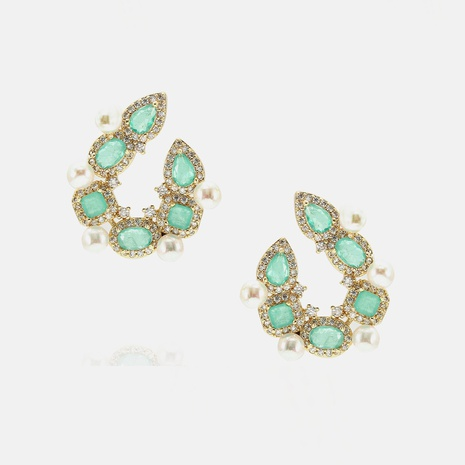 fashion style stone pearl copper earrings wholesale  NHWV358643's discount tags