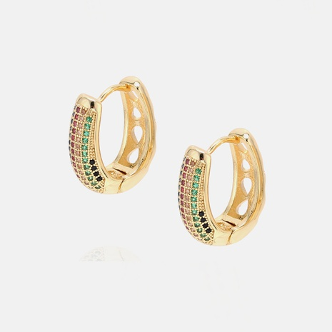 fashion gold-plated color zircon earrings wholesale   NHWV358645's discount tags