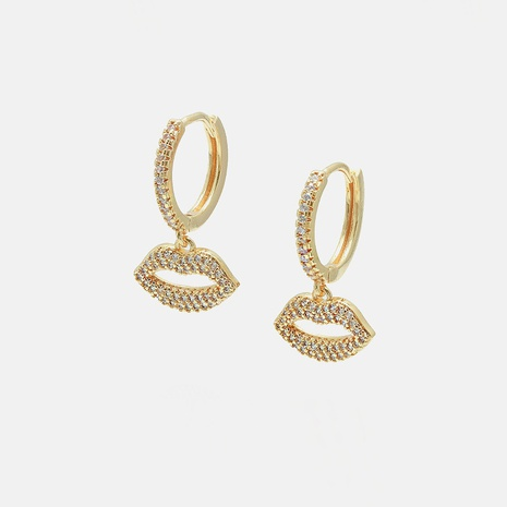 fashion gold-plated color zircon lip shape earrings NHWV358646's discount tags