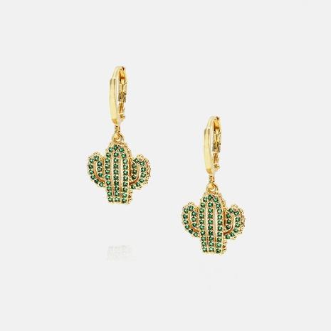 fashion copper green zircon cactus earrings wholesale  NHWV358647's discount tags