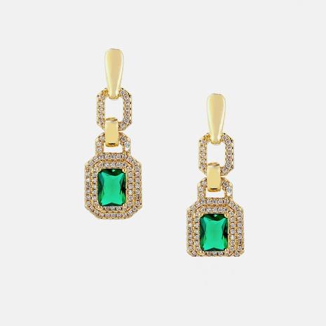 retro geometric gold-plated zircon green precious stone earrings NHWV358650's discount tags
