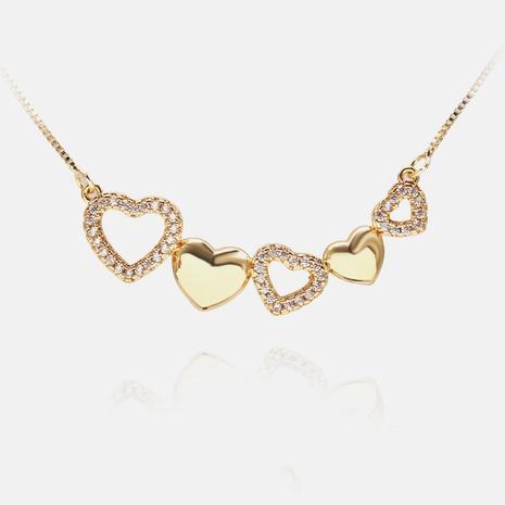 Collar de clavícula de cobre con micro incrustaciones de circonitas en forma de corazón de moda coreana NHWV358653's discount tags