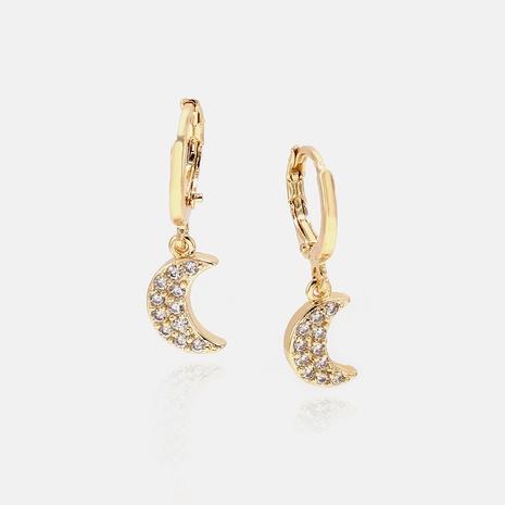 fashion gold-plated diamond moon earrings wholesale  NHWV358660's discount tags