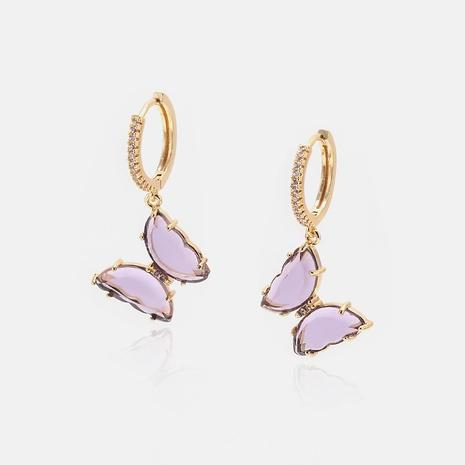fashion diamond glass butterfly earrings wholesale NHWV358662's discount tags
