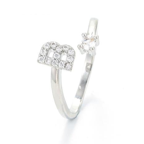 Korean letter B diamond copper ring  NHWG358696's discount tags
