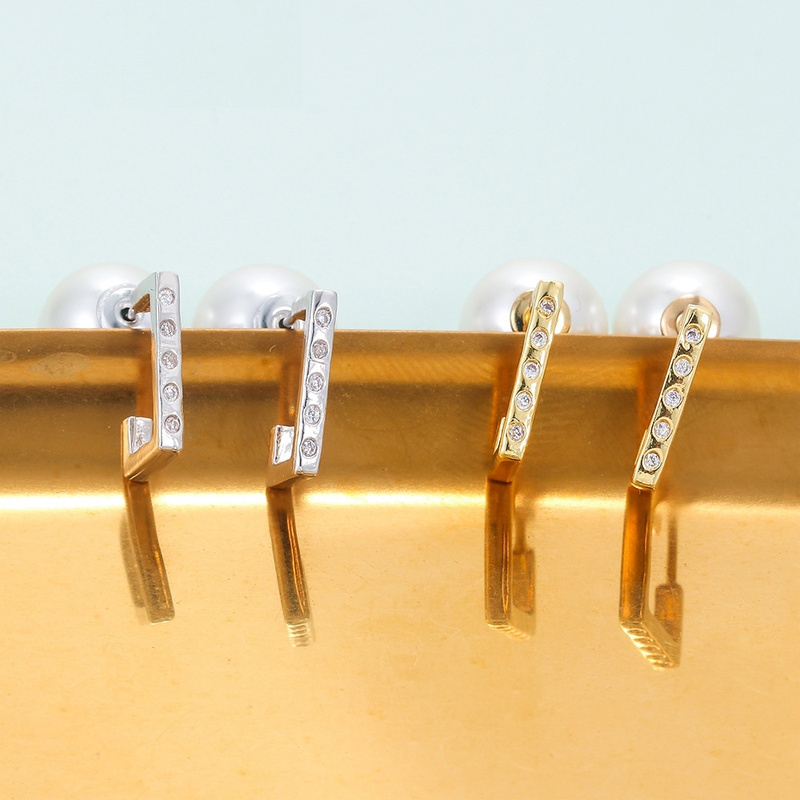 personality diamond irregular surface pearl zircon earrings NHWG358705