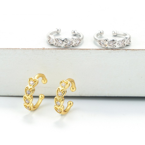 Korean heart-shaped copper ear bone clip  NHWG358715's discount tags