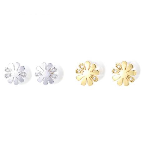 Korean pearl flower copper earrings  NHWG358717's discount tags