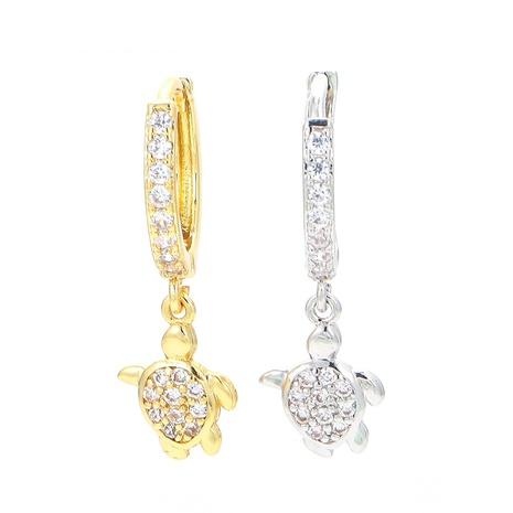 Korean cute little turtle copper earrings NHWG358793's discount tags