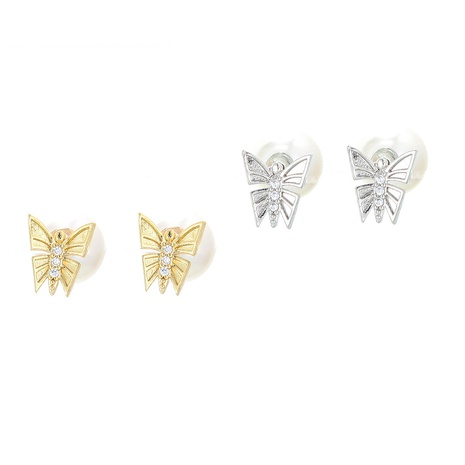 retro butterfly pearl copper earrings  NHWG358794's discount tags