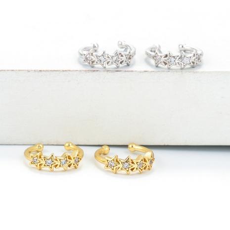 simple star ear bone clip copper earrings NHWG358798's discount tags