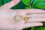 fashion pearl microinlaid copper earrings NHWG358802