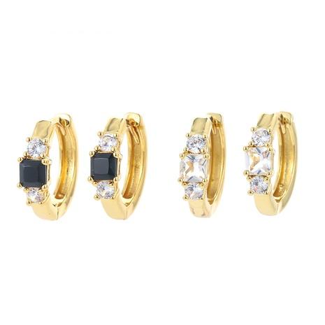 simple inlaid zircon hoop copper earrings NHWG358803's discount tags