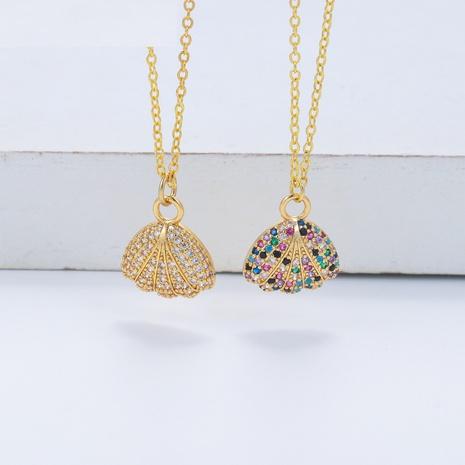 Collar coreano de cobre hueco de estrella de cinco puntas con diamantes NHWG358805's discount tags