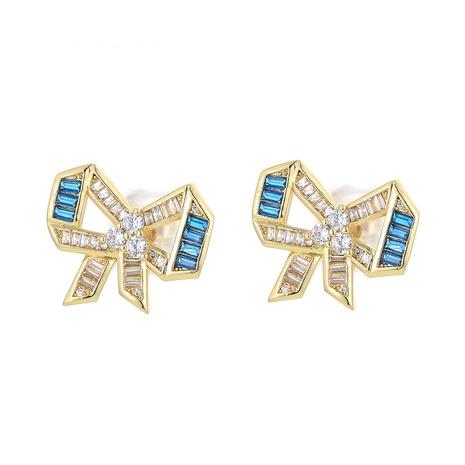fashion square diamond bow copper stud earrings  NHWG358809's discount tags