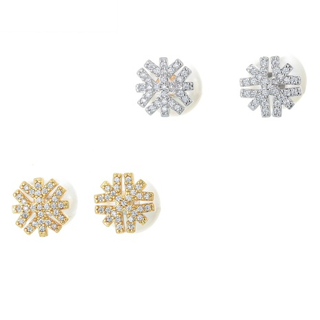 Korean snowflake micro-inlaid copper earrings  NHWG358811's discount tags