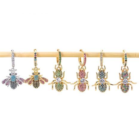 Korean diamond bee copper earrings  NHWG358815's discount tags