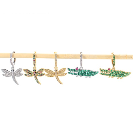 fashion green small crocodile copper earrings NHWG358816's discount tags