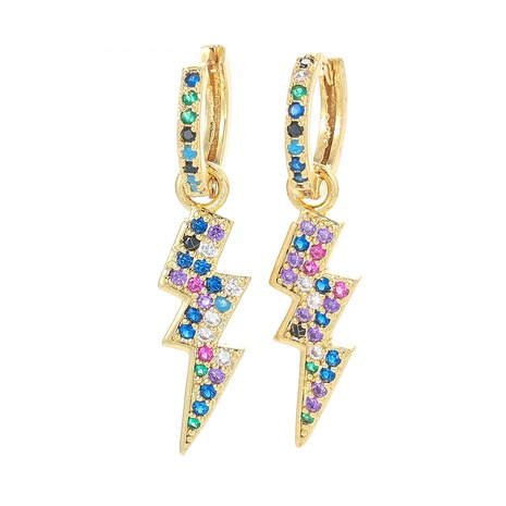 fashion color zircon lightning copper earrings  NHWG358818's discount tags