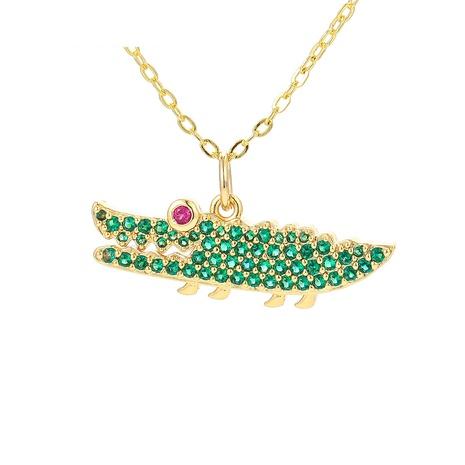 collar de cobre colgante de cocodrilo grande verde de moda NHWG358847's discount tags