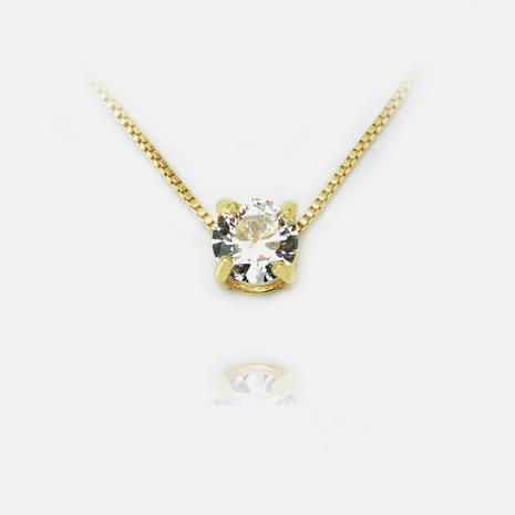 Collar chapado en oro con colgante de circón de moda al por mayor NHWV358876's discount tags