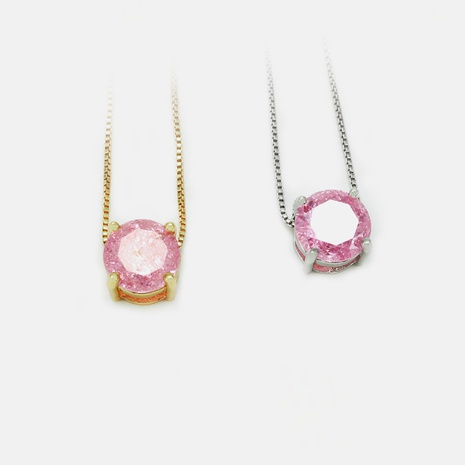 Collar chapado en oro con colgante de circonita rosa de moda al por mayor NHWV358877's discount tags