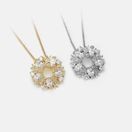Collar chapado en oro de circonita redonda irregular de moda NHWV358880's discount tags