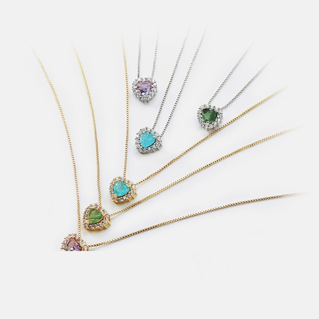 collar chapado en oro con colgante en forma de corazón de color de moda NHWV358881's discount tags