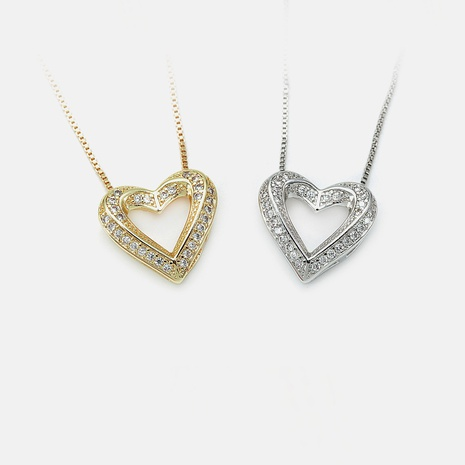 moda elegante diamante colgante en forma de corazón chapado en oro al por mayor NHWV358884's discount tags