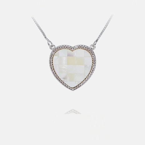 collar colgante de concha de circonio en forma de corazón de moda simple NHWV358887's discount tags